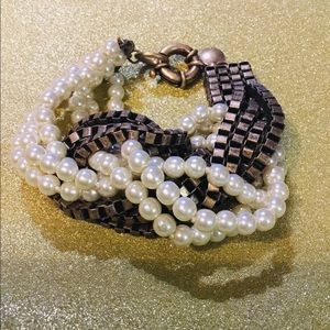 J. Crew twist bracelet faux pearl and bronze tone